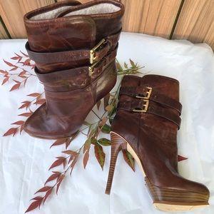 Michael Kors Distressed Leather Heel Boot  New 5.5